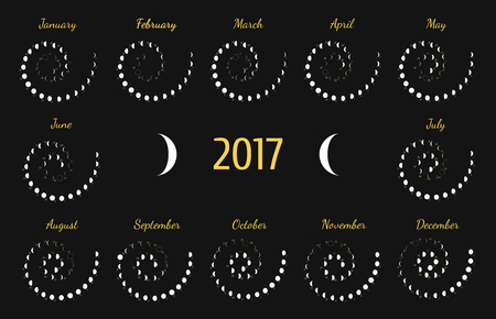 lunar: astrological spiral calendar for 2017. Lunye phase calendar for white on a dark grey background. Creative lunar calendar ideas for your design