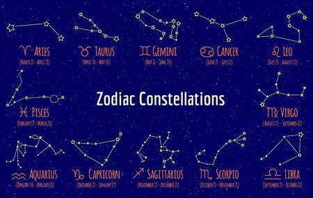 zodiak: Set of zodiac signs and constellations. collection of blue backgrounds zodiac Pisces, Scorpio, Libra, Aquarius, Capricorn, Cancer, gemini, virgo, aries, aquarius, leo, taurus on starry sky