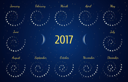 phase: astrological spiral calendar for 2017. Moon phase calendar in the night starry sky. Creative lunar calendar ideas for your design