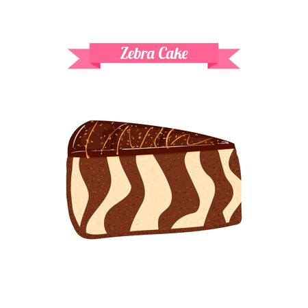confectionery: Piece of cake. sliced portion of the chocolatel striped zebra cake. Isolated image of a delicious tasty cake on white background for menu design, coffee, confectionery Illustration