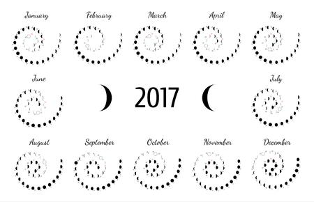 Vector astrological spiral calendar for 2017. Lunye phase calendar for dark gray on a white background. Creative lunar calendar ideas for your design