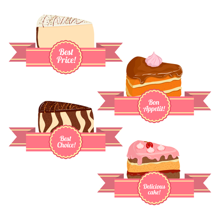 sponge cake: A set of of appetizing cakes. Vector collection of pieces of cake servings. Sponge cake cheesecake cherry caramel. Delicious cakes with ribbons for sales brochures advertising signboards confectionery