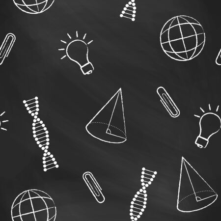black and white cone: Seamless pattern back to school. Vector black blackboard written with white chalk a cone, bulb, clipa DNA molecule, globe. School background for design covers notebooks and textbooks