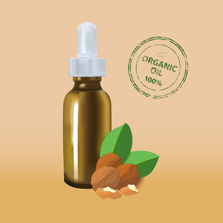 care about the health: Essential oil package mockup. cosmetic walnut oil with a pipette bottle. The idea of advertising design cosmetics and medicines, brochures about health and skin care products