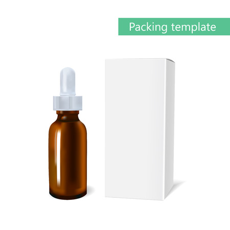 brown box: Essential oil package mockup. cosmetic oil with a pipette bottle. The idea of advertising design cosmetics and medicines, brochures about health and skin care products Illustration