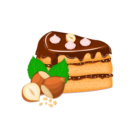 sponge cake: Piece of cake with nuts. Vector sliced portion of sponge cake with creamy hazelnut layer, decorated with chocolate cream and crushed walnut on white background for menu design, coffee, confectionery