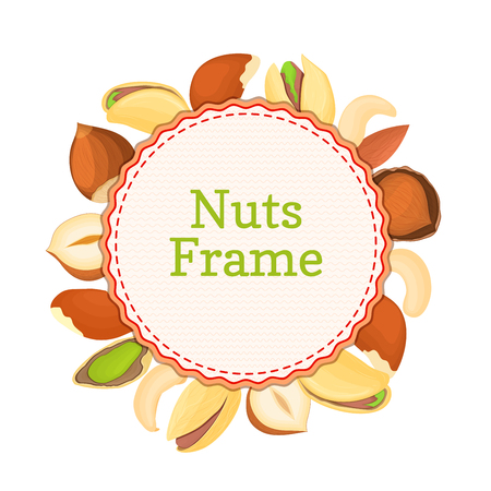 pecan: Round colored frame composed of different nuts brazil, cashew, peanut, pecan, pine, pistachio. Vector card illustration. Circle nuts frame with place for your text for packaging design element