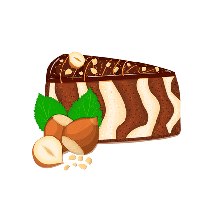 Piece of zebra cake with nuts. Vector sliced portion of sponge striped cake, decorated with chocolate cream and crushed walnut on white background for menu design, coffee, confectionery