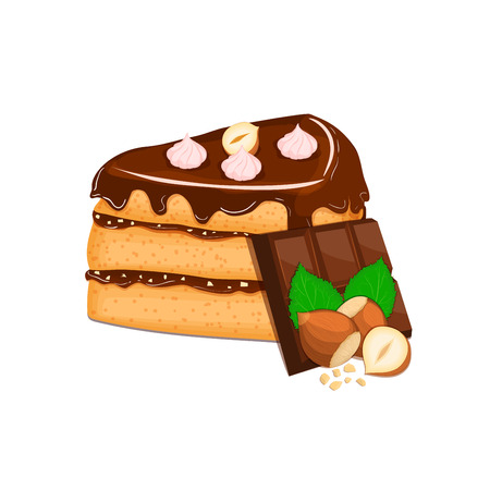 sponge cake: Piece of cake with nuts and chocolate bar. Vector sliced portion of sponge cake with creamy hazelnut layer, decorated with chocolate cream and crushed walnut on white background for menu design