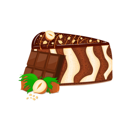 chocolate bar: Piece of zebra cake with nuts and chocolate bar. Vector sliced portion of sponge striped cake decorated with chocolate cream and crushed walnut on white background for menu design coffee confectionery