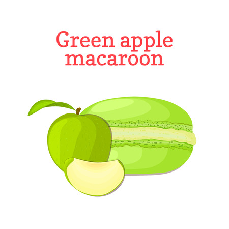 macaron: Vector illustration of a delicious French dessert. Macaroon green apple. Macaron delicious green fruit sweetness isolated on white background to design a menu, packaging, confectionery decoration. Illustration