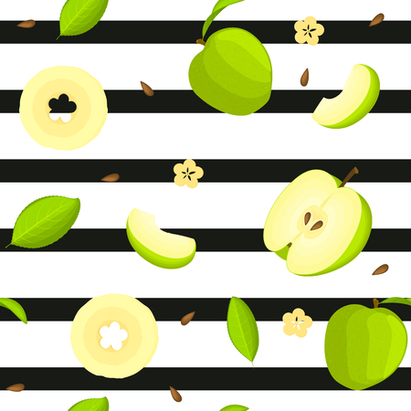 Seamless vector pattern of bright fruit. Striped background with delicious green apples, whole, slice, half, slice, leaves. Illustration can be used for printing on fabric, textile in design packaging Illustration