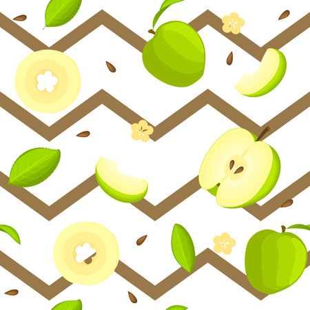 Seamless vector pattern of bright fruit. Striped zig-zag background with delicious green apples, whole, slice, half, slice, leaves. Illustration for printing on fabric, textile in design packaging