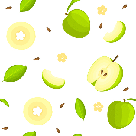 Seamless vector pattern of bright fruit. White background with delicious green apples, whole, slice, half, slice, leaves. Illustration can be used for printing on fabric, textile in design packaging Illustration