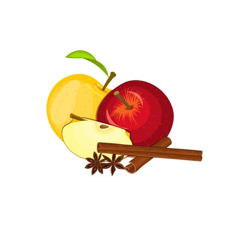 vegetarianism: Vector drawing of a few apples with spice. Yellow and red apple fruits and anise cinnamon Group of tasty fruits colorful design for the packaging of juice, breakfast, healthy eating, vegetarianism