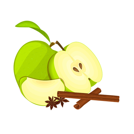 green apple slice: Vector drawing of a few apples with spice. Green apple fruits whole, half, slice and anise cinnamon Group of tasty fruits colorful design for the packaging of juice, breakfast, healthy eating, vegan Stock Photo