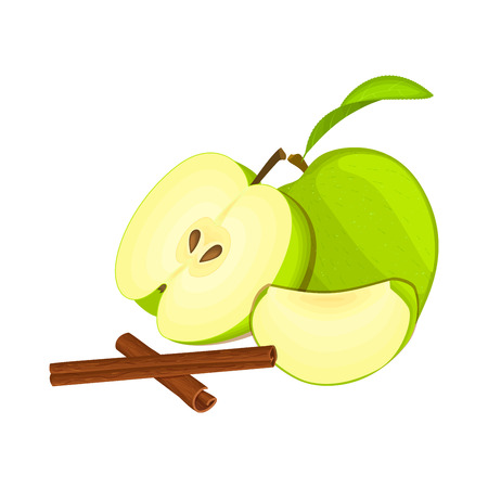 green apple slice: Vector drawing of a few apples with spice. Green apple fruits whole, half, slice and cinnamon stick Group of tasty fruits colorful design for the packaging of juice, breakfast, healthy eating, vegan