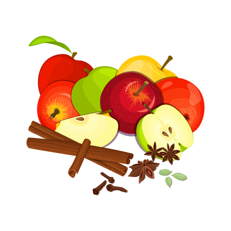 vegetarianism: Vector drawing of a few apples with spice. Yellow, red and green apple fruits and anise cinnamon cloves cardamom appetizing looking for the packaging of juice, breakfast, healthy eating, vegetarianism