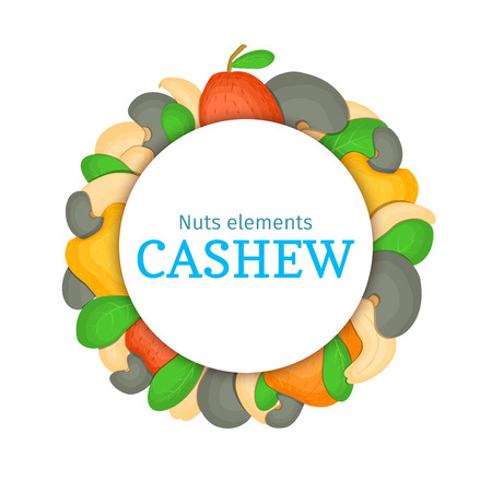 cashews: Round colored frame composed of cashew nut. Vector card illustration. Circle nuts frame, cashew nut fruit in the shell, whole, shelled leaves appetizing looking for packaging design of healthy food