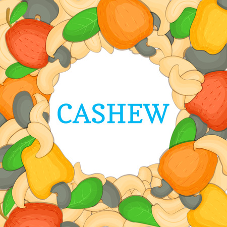 Round colored frame composed of cashew. Vector card illustration. Circle Nuts frame, cashew fruit in the shell, whole, shelled, leaves appetizing looking for packaging design of healthy food Illustration