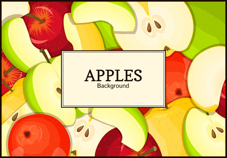 The rectangular frame. Delicious fresh apples whole, peeled, piece of half, slice,seed. appetizing looking for packaging design of healthy food