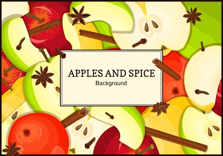 cloves: The rectangular frame on apples with spice. Yellow, red and green apple fruits and anise cinnamon cloves appetizing looking for the packaging of juice, breakfast, healthy eating, vegetarian