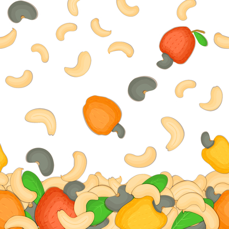 Vector illustration of falling cashew nuts. Background of a nut. Pattern of a cashew fruit in the shell, whole, shelled, leaves, appetizing looking for packaging design of healthy food
