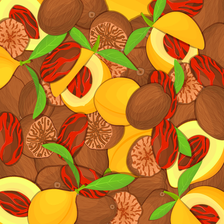 closely: The nutemeg . Closely spaced delicious spice nuts illustration. Nuts pattern, nutmeg fruit in the  leaves appetizing looking for packaging design of healthy food Illustration