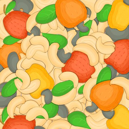appetizing: The cashew nut background Closely spaced delicious cashew vector illustration Nuts pattern walnut fruit in the shell whole shelled leaves appetizing looking for packaging design of healthy food