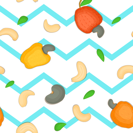 cashews: Seamless vector pattern of cashew nut. Blue Striped zig-zag background with delicious cashew nuts, leaves. Illustration can be used for printing on fabric textile in design packaging, packaging design