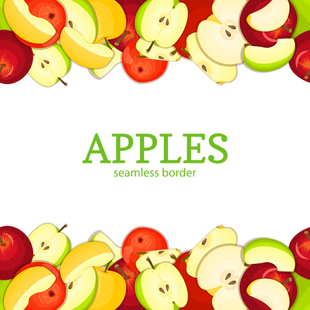 green apple slice: Apple Horizontal seamless border. Vector illustration card top and bottom Yellow red and green apples fruits whole and slice appetizing looking for packaging design of juice breakfast, healthy eating