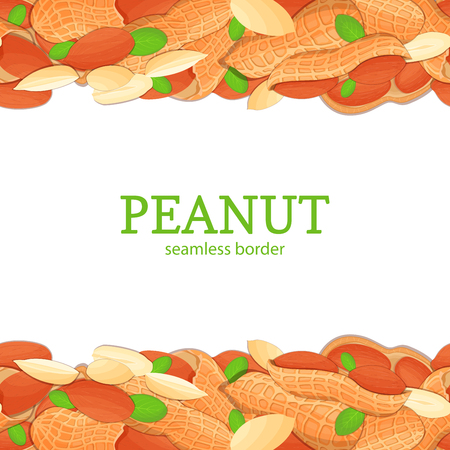 Peanut nut Horizontal seamless border. Vector illustration card top and bottom of a delicious peanuts fruit in the shell whole shelled leaves appetizing looking for packaging design healthy food Ilustração