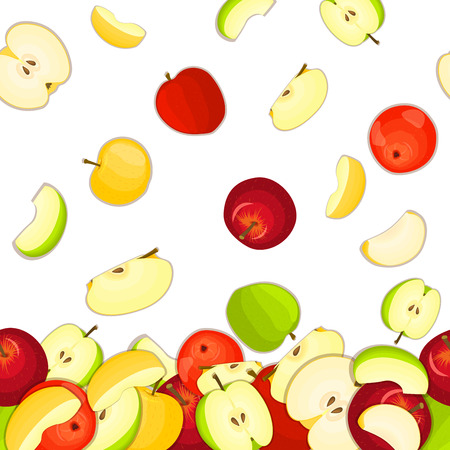 green apple slice: Vector illustration of falling apples. Yellow red and green vector pattern apple fruits whole and slice appetizing looking. Group of tasty fruits colorful design for packaging of juice breakfast, food Illustration