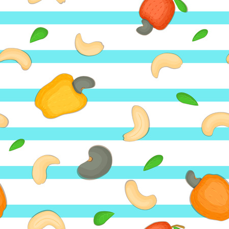 cashews: Seamless vector pattern of cashew nut. Blue Striped background with delicious cashew nuts, leaves. Illustration can be used for printing on fabric, textile in design packaging, packaging design