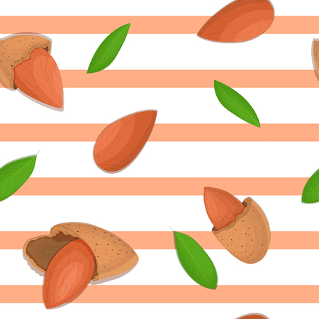 Seamless vector pattern of almond nut. Striped background with delicious almond nuts, leaves. Illustration can be used for printing on fabric, textile in design packaging, packaging design Illustration