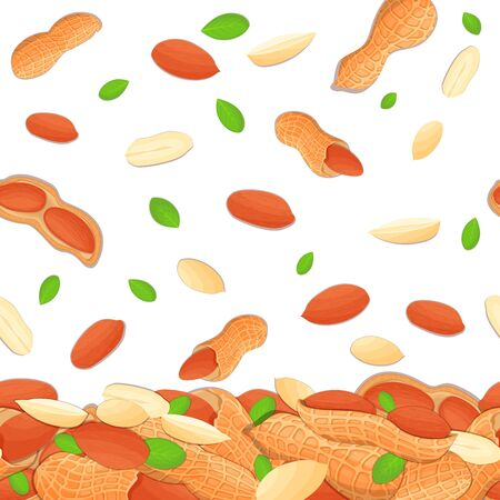 Vector illustration of falling hazelnut nuts. Background of a hazel nut. Pattern of a walnut fruit in the shell, whole, shelled, leaves appetizing looking for packaging design of healthy food