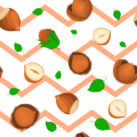 Seamless  pattern of hazelnut nut. Striped zig-zag with delicious walnut, leaves. Illustration can be used for printing on fabric, textile in design packaging, packaging design