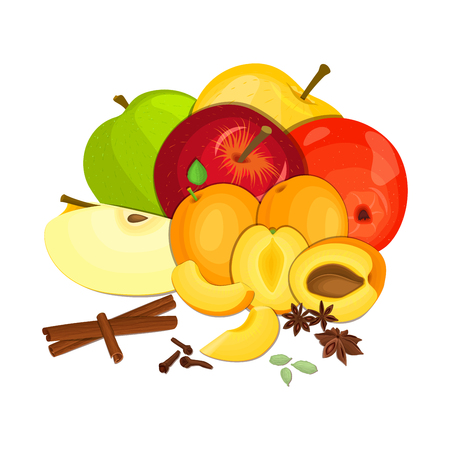 anise: Vector composition few apples apricots with spice. Yellow, red and green apple and apricot fruits, anise cinnamon cloves cardamom appetizing looking for the packaging of juice, breakfast, health food Illustration