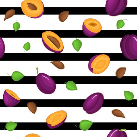 prune: Seamless vector pattern of ripe plums fruit. Striped with delicious juicy plum, whole, slice, half, slice, leaves. Illustration can used for printing on fabric, textile in design packaging