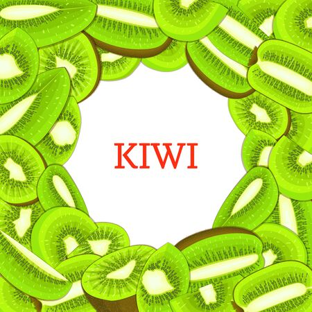 closely: Round white frame on ripe kiwi background. Vector card illustration. Delicious fresh and juicy kiwifruit peeled piece of half slice seed appetizing looking for design of food packaging juice breakfast
