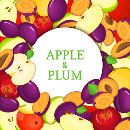 looking for: Round white frame on ripe apple plum background. card illustration. Delicious fresh and juicy plums apples peeled piece of half slice seed appetizing looking for design of food packaging juice