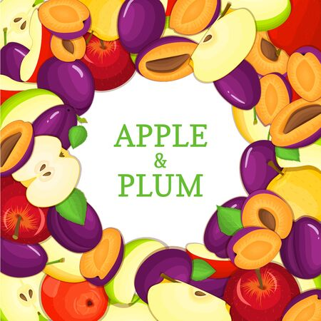 Round colored frame composed of delicious apple plum fruit. Vector card illustration. Circle apples plums frame. Ripe fresh fruits appetizing looking for packaging design of juice, breakfast food Vectores