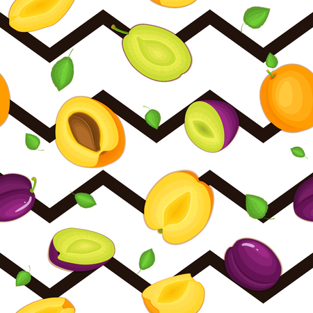 prune: Seamless vector pattern of ripe plum apricot fruit. Striped zig zag background with delicious juicy plums apricots whole leaf slice half. Vector fresh fruit Illustration for printing on fabric textile