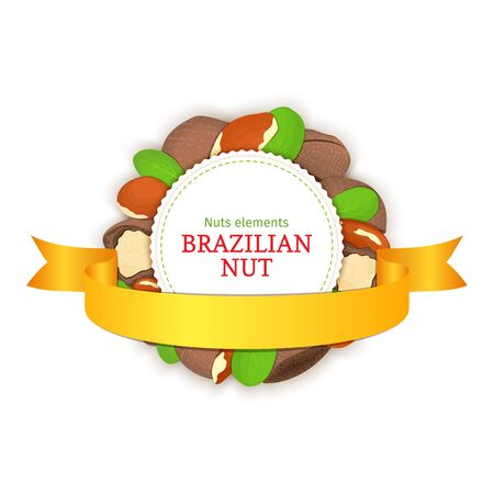 brazil nut: Round colored frame composed of brazil nut and ribbon. Vector card illustration