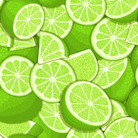 Modèle sans couture mûre juteuse tropical lime. Illustration de carte vectorielle. Banque d'images - 75346907