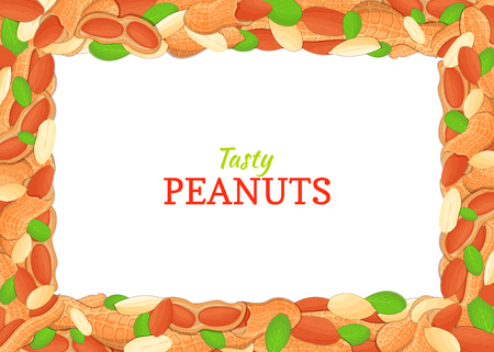 Horizontal Rectangle colored frame composed of delicious of peanut. Vector card illustration. Stok Fotoğraf - 75663541