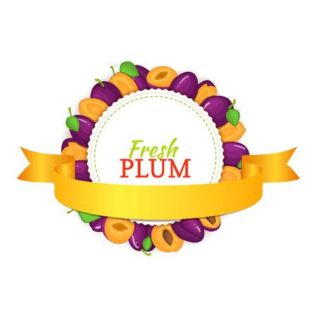 prune: Round frame composed of ripe plums fruit and gold ribbon.