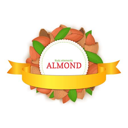 nutshell: Round colored frame composed of almond nut and gold ribbon. Vector card illustration