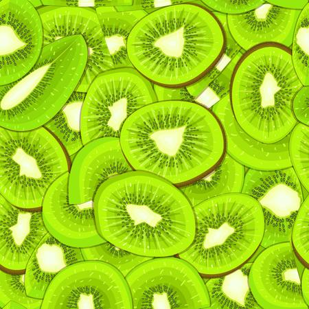 closely: Ripe juicy kiwi seamless background Vector card illustration. Illustration