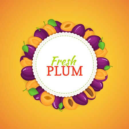 prune: Round frame composed of ripe plums fruit vector card illustration.